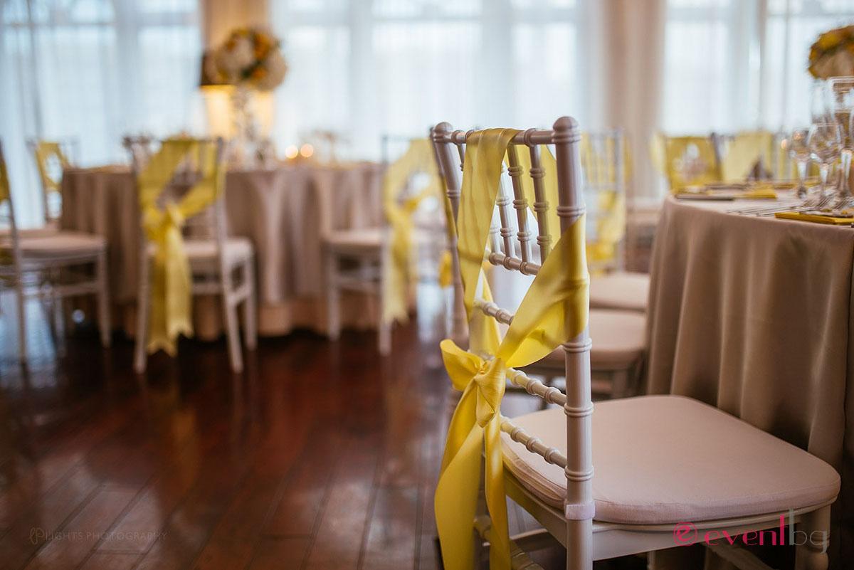 Сватбена украса - жълто и сиво
