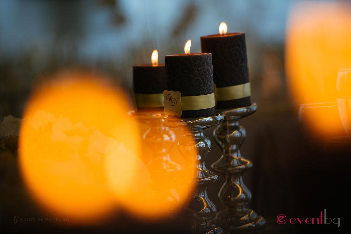 Сватбена украса - тъмни свещи