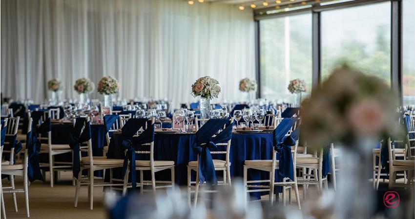Сватбена украса - Синьо и Розово