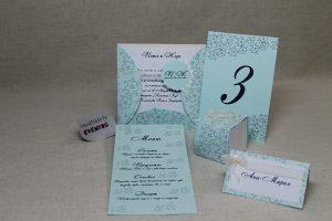 Сватбена покана в синьо