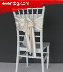Панделка за стол Бяла - Под наем