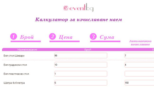 Онлайн калкулатор - Eventbg Agency