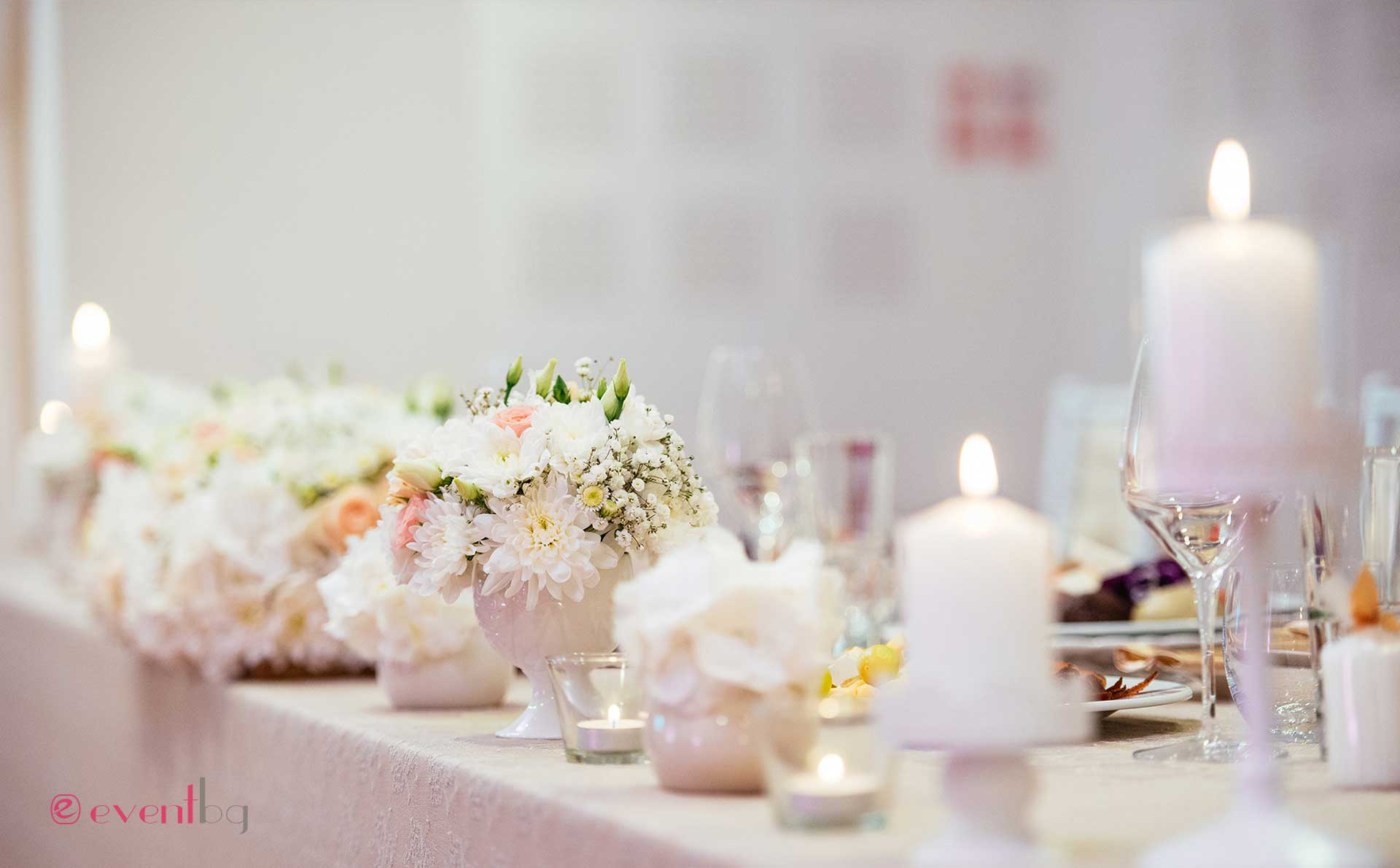 Сватбена маса декорация