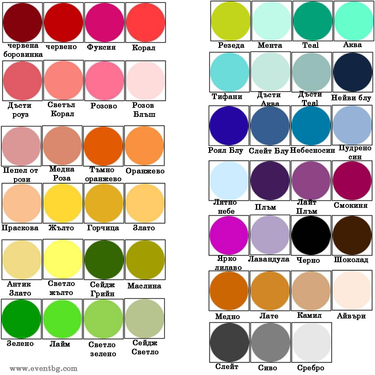 200+ Цветови комбинации за вашата сватба