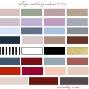 Модерни цветове за сватба през 2018г